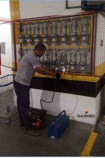 Teste de estanqueidade de gás